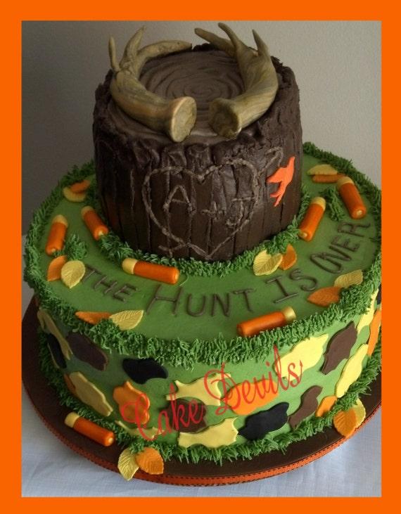 Fondant Hunting Cake Toppers Deer Antler Decorations Camo Shotgun The Hunt Is Over