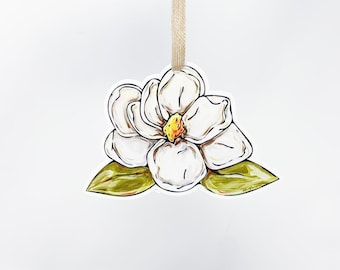 Home Malone Magnolia Ornament - Southern Christmas Ornament, New Orleans, Pretty White Magnolia Flower, Christmas Gift, Floral Christmas