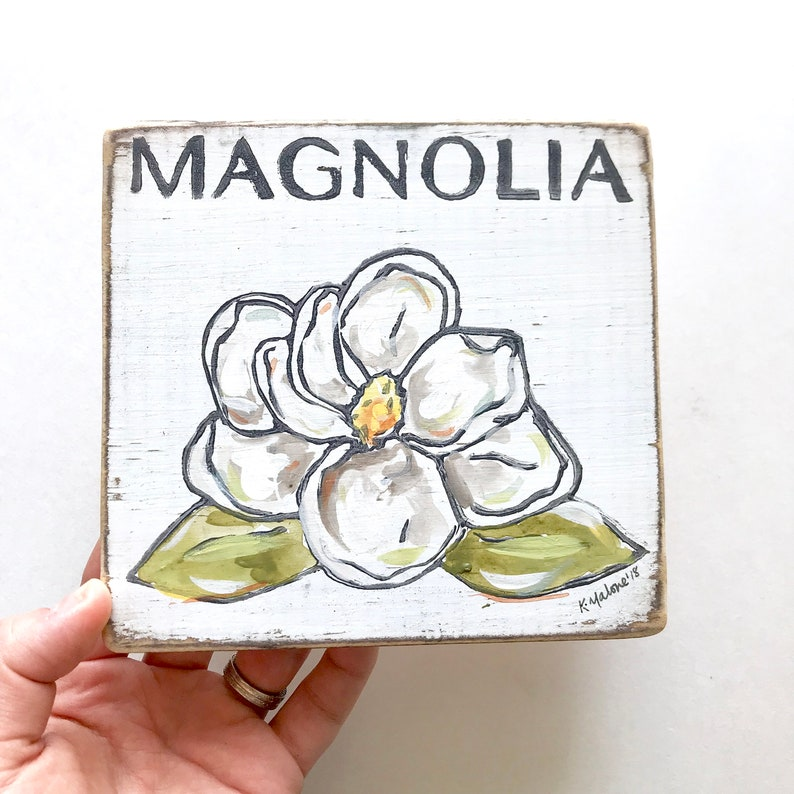 Bridal Shower Gift Home Malone Kitchen Art Under 30 Made in Louisiana State Flower Magnolia Wood Sign: New Orleans Art Southern Decor