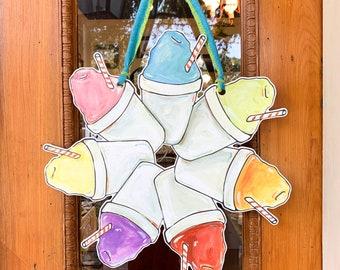 Sno-Ball Door Wreath: Sno-Cone Door Hanger, Summer Door Wreath, Snowcone, snow ball, New Orleans Door Hanger, Home Malone, New Orleans Art