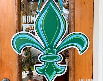 Green & Aqua Tulane Fleur De Lis Door Hanger: Home Malone, New Orleans Art, Roll Wave, Waterproof Door Decor, NOLA Artist, Green Wave NOLA