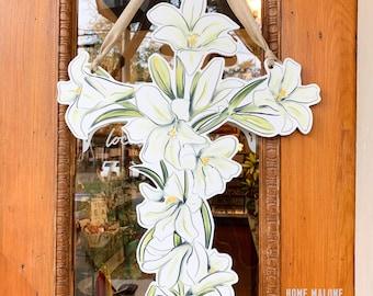 Easter Lily Door Hanger - Home Malone, New Orleans Art, Easter Decor, Peace Lily, Pretty Door Hanger, Communion Gift, Cross Door Hanger