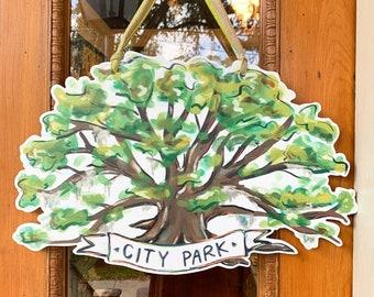 City Park Oak Tree Door Hanger - Home Malone New Orleans Artist - Pretty Door Hanger, Southern Tree, Friends Of City Park, Louisiana, Acorn