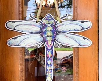 Dragonfly Door Hanger: New Orleans Art, Weatherproof Door Hanger, Door Wreath, Made In NOLA, Top Place to Shop in New Orleans.
