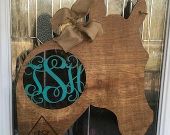 Beau Horse Door Hanger, Horse Decor, Country Door Hanger, Monogram Door Hanger,  Cowboy Door Hanger, Cowgirl Door Hanger, Horse