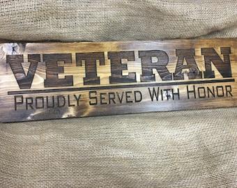Veteran sign, veterans day gift, military, veteran, engraved sign, engraved gift