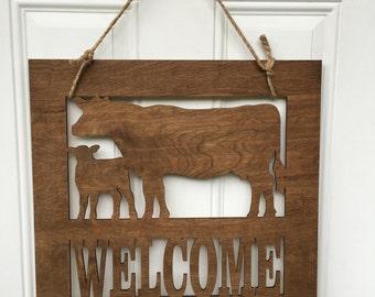 Cow door hanger, cow door decor, cow decor, welcome sign, farm sign, cows, Farm life, farmhouse