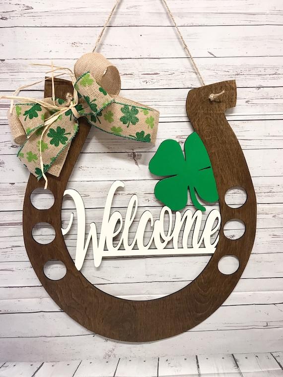 St Patricks Day Horseshoe Door Hanger St Patricks Day Door | Etsy