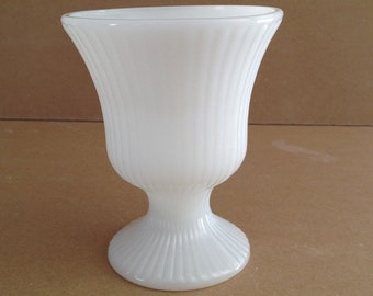 Vintage E. O. Brody Co., Ribbed Milk Glass, Pedestal Vase, Or Planter, Is From 1960s