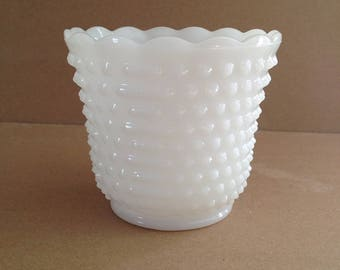 Vintage Hobnail Milk Glass Planter, Jardiniere, Flower Pot, Cachepot, Anchor Hocking, Mid Century 1960s, Measuring 4.5 Inches T X 5 Inches D