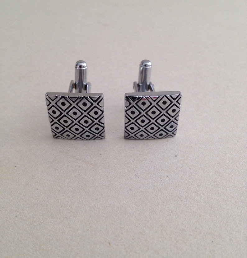 Squares Vintage Silvertone Cufflinks Mid Century Modern A Pair Measuring 58 X 58 With Black Diamond Grid And Dot Design From 1970s
