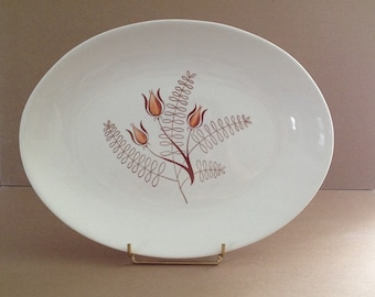 Vintage Tanglewood Brown, Serving Platter, Royal China Inc., Is From 1960s, Mid Century Modern, Tulip, Scandinavian-Style, Design, 13 X 10