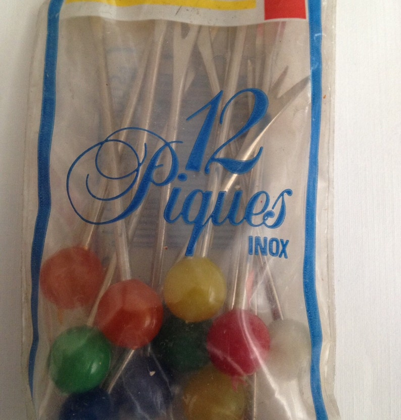 1980s Forks Resin Cocktail Vintage Hors D/'Oeuvres Picks Made in France Appetizer Spears Metal Unused Set of 12 In Unopened Package