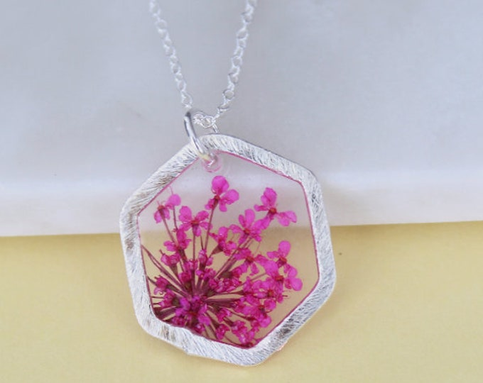 Pink Queen Anne's Lace Silver Necklace