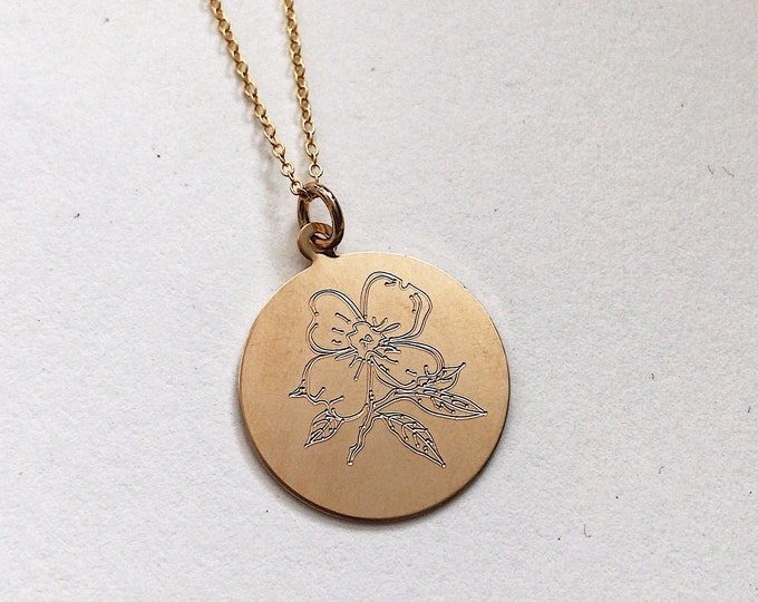 Gold Filled Peony Engraved Necklace