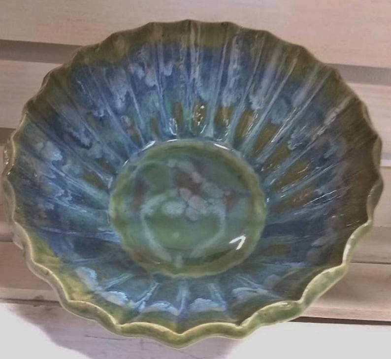 Bowl NC Pottery Stoneware 7 x 4 Blue Green with Fluted Edge Made for Cooking and Serving