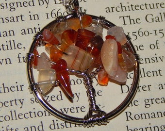 Genuine CARNELIAN Tree of Life Necklace - Silver Wire Wrapped Pendant with Carnelian Crystal Chips - Tree of Life Necklace - Reiki Pendant