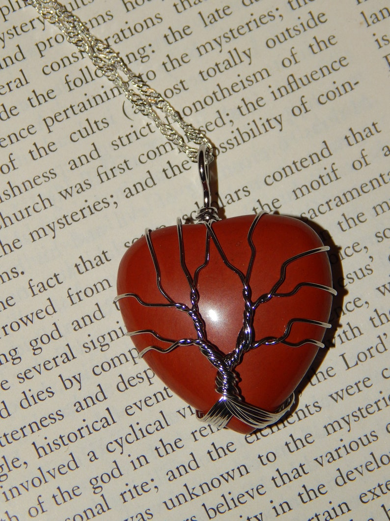 Genuine RED JASPER Heart Necklace Tree of Life Necklace Silver Wire Wrapped Heart Pendant with Red Jasper Crystal Reiki Pendant