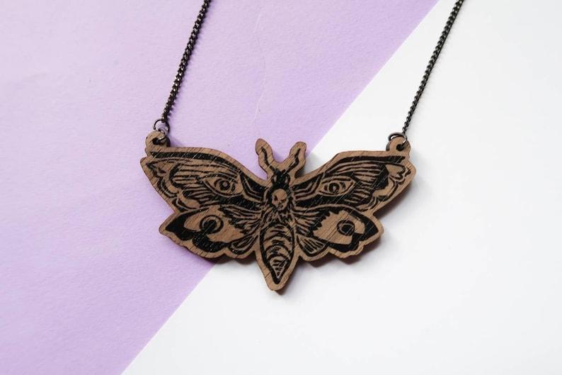Death Head Moth Necklace  Death Moth  Skull moth necklace  image 0