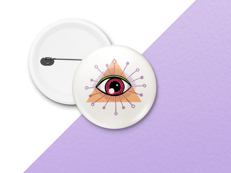 All Seeing Eye Pin Badges  Evil eye Button Badge  Cute Pin image 0
