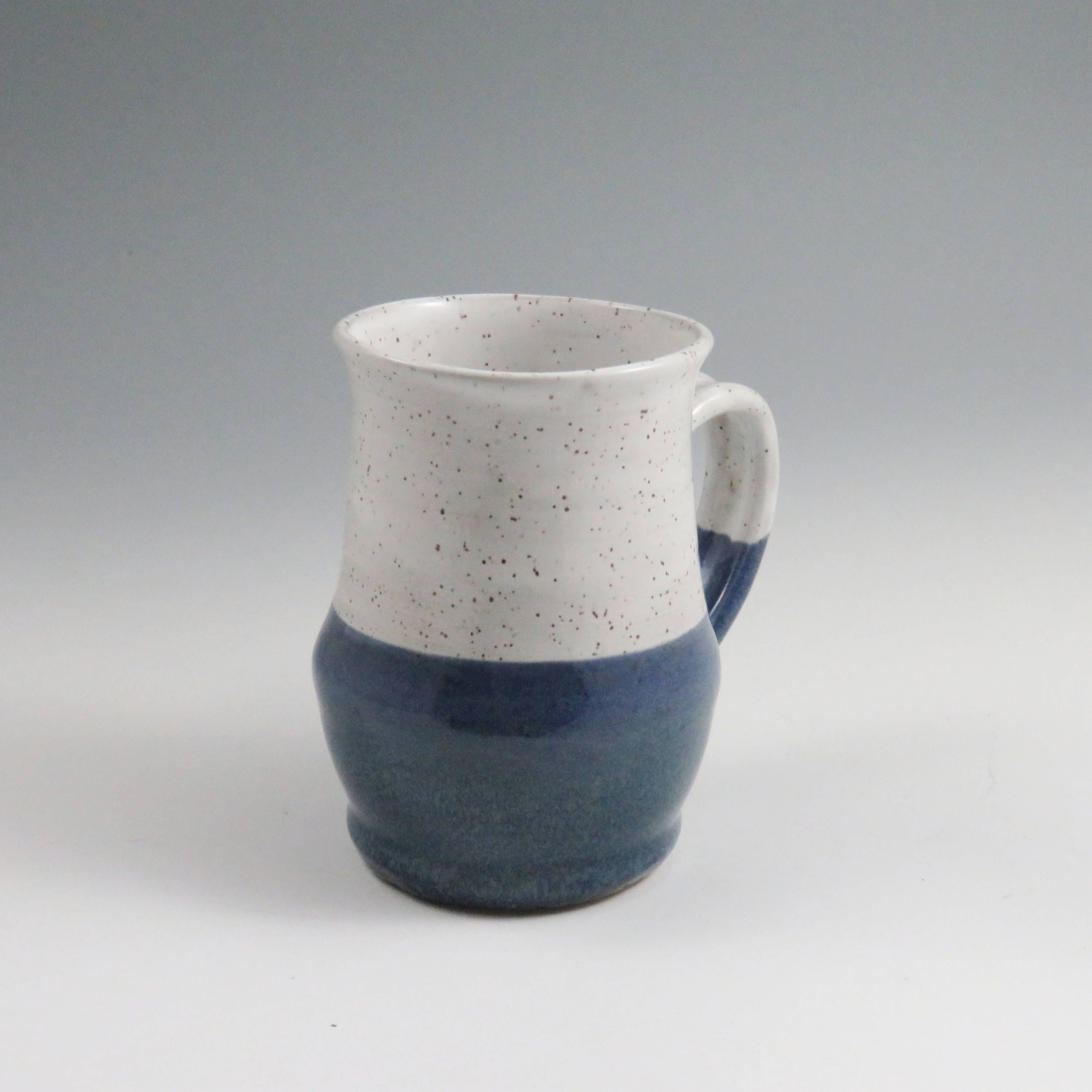 Blue Handmade Ceramic Pottery Mug 12 Oz Coffee Mug Unusual Mug Unique Pottery Mug Ready To Ship White Ceramic Mug White Pottery Mug Tea Mug