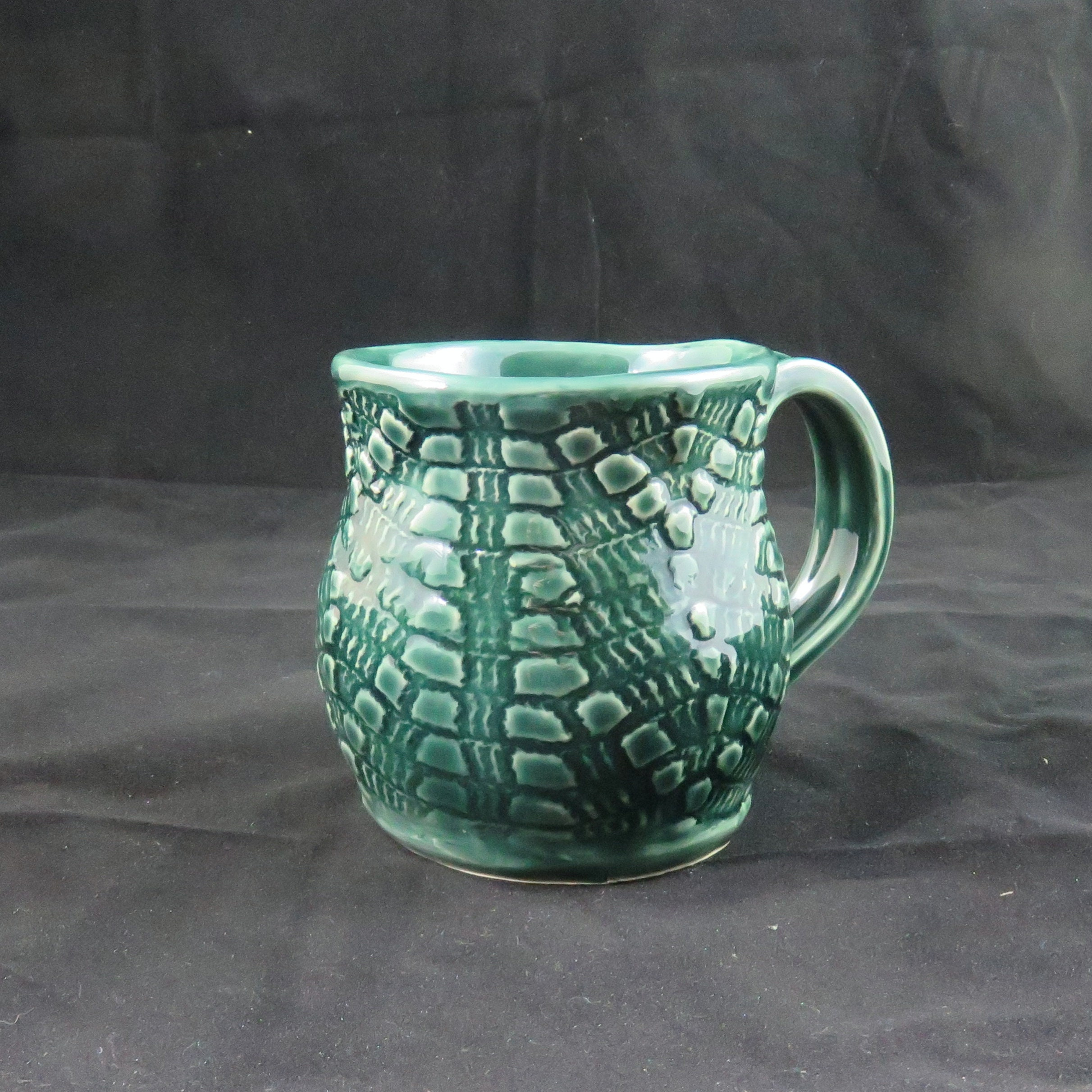 Unique Pottery Mug Handbuilt Ceramic Mug Green Ceramic Mug Ready To Ship Funky Mug Unusual Mug 16 Oz Large Mug Soul Shine Pottery Vintage