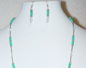 Chinese Turquoise Rondelle Beaded Necklace and Earrings Set