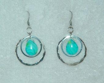 Blue Swirl and Circles Dangle Earrings