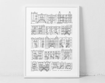 Montreal's architecture aka Tons of Plex! / 18x24 Poster / Real Plex from 13 streets & 7 different neighbourhoods