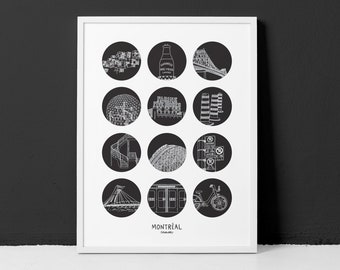 """Montreal 18x24"""" Poster / Highlighting the urban side of Montreal city (frame not included)"""