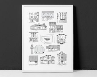 Montreal's Delis and Snackbars / 18x24 Poster / The best spots around Montreal for good nostalgic food (frame not included)
