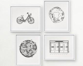 Darvee's Montreal Icons: BIXI Bike / Bagel / Poutine / Underground metro doors (each design sold INDIVIDUALLY, no frame)