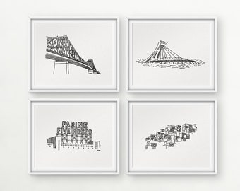 Darvee's Montreal icons: Jacques Cartier Bridge / Olympic Stadium / Farine Five Roses / Habitat 67 (each design sold INDIVIDUALLY, no frame)