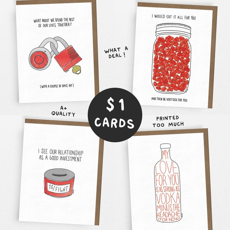 SALE // LOVE Set // 1 Dollar Card // 1 of each OR 5 of the 1x 4 DESIGNS