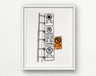 """Orange NEON Parking Hell / 8x10"""" Digital + Neon handprinted / Perfectly Imperfect!! // Love/Hate Montreal  (no frame)"""