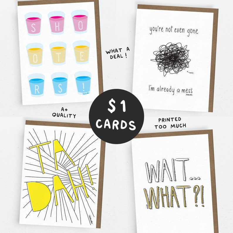 SALE // CHEERUP Set // 1 Dollar Card // 1 of each OR 5 of the 1x 4 DESIGNS