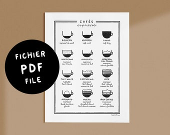 Cafés Espresso Chart, Darvee Style - Digital PDF 8.5x11 - Black&White - Get it now, Print it, Use it!