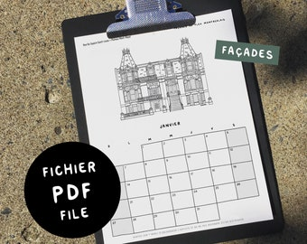 FAÇADES / 2021 Calendar - Digital PDF 8.5x11 - Black&White - Get it now, Print it, Use it! - 7 Montréal theme to choose from!