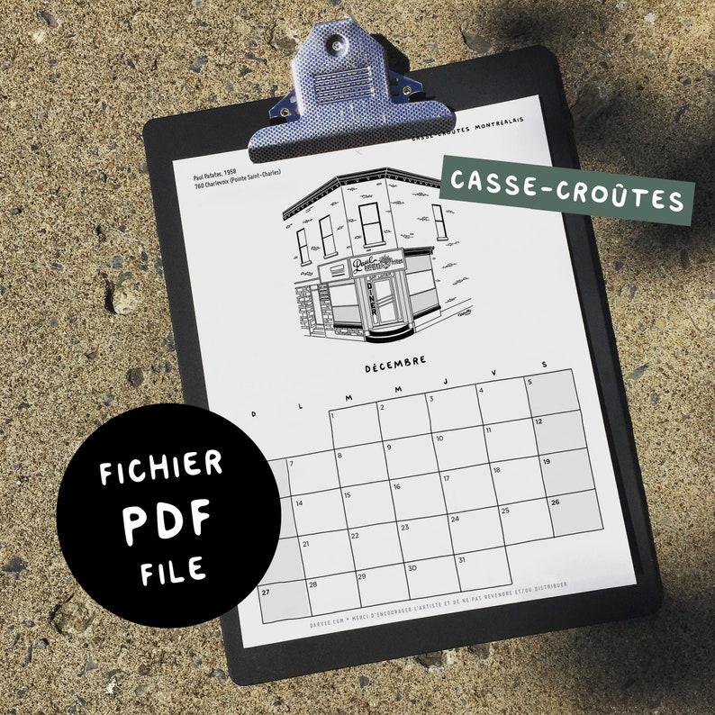 CASSE-CROÛTES / 2021 Calendar  Digital PDF 8.5x11  image 0