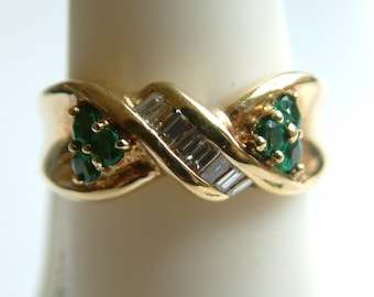 Estate Emerald  & Diamond twist band ring, solid 14k yellow gold-Free Shipping