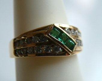 Estate Emerald  & Diamondt band ring, solid 14k yellow gold-Free Shipping