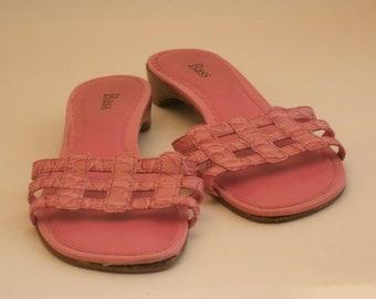 3a5500c46cec84 BASS Pink Leather Woven Vintage sandals