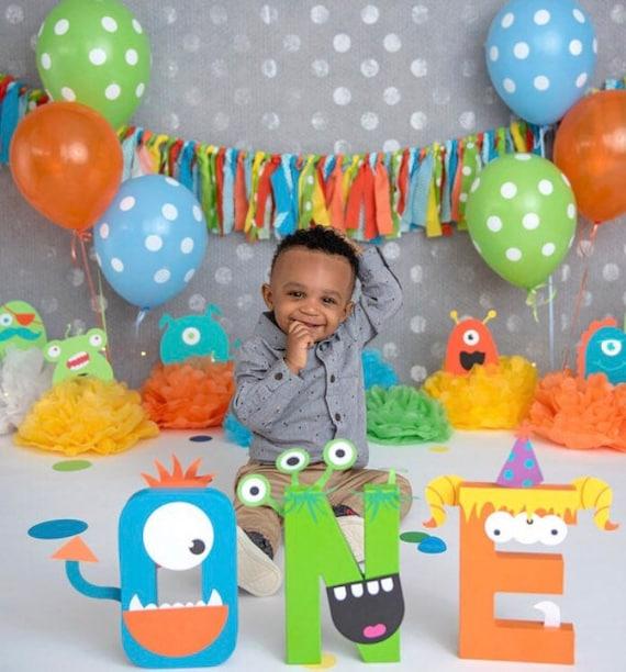 Little Monster First Birthday Party Decorations Baby Shower Banner Orange Green Blue Garland Banner Rag Garland Baby Shower Highchair Banner