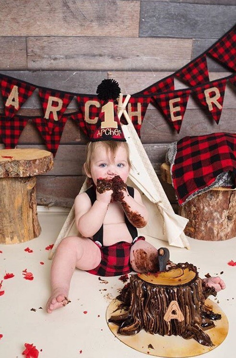 Plaid party decorations wild one Woodland first birthday Lumberjack baby shower party banner Buffalo Plaid bear burlap highchair banner