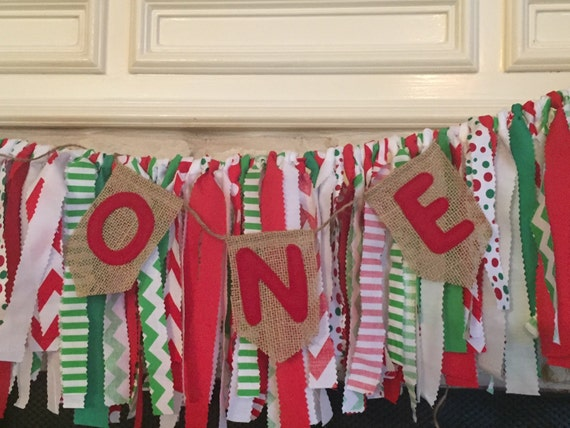 Christmas In July Party Favors.Christmas In July Party Decorations First Christmas Birthday Rag Garland Banner Highchair Banner Red Green White Colors Bunting