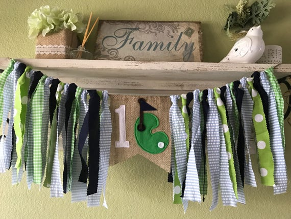Golf Theme Rag Garland Banner Highchair Banner Green Navy Blue First Birthday Golf Theme Party Decorations Fore Par Tee Cake Smash Photo