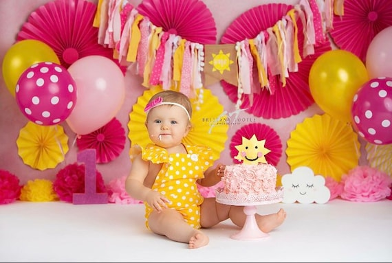 You Are My Sunshine Party Decorations Highchair Banner Garland Girls First Birthday Banner Little Miss Sunshine Party Baby Shower Cake Smash