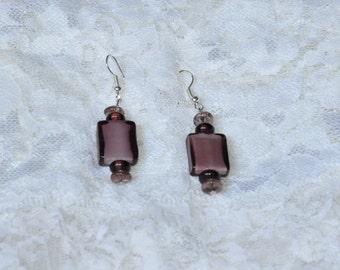 Passionate Purple Beadwork Dangle Earrings, Dangle Earrings
