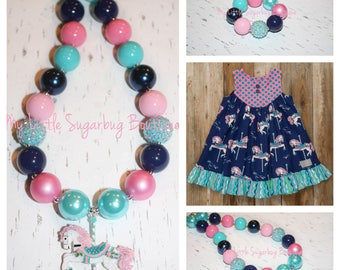 93500406eb91c Country Carousel Chunky Necklace-M2M Eleanor Rose-Carousel Horse  Necklace-Carousel Necklace-Bubblegum Necklace-Baby-Toddler-Girls