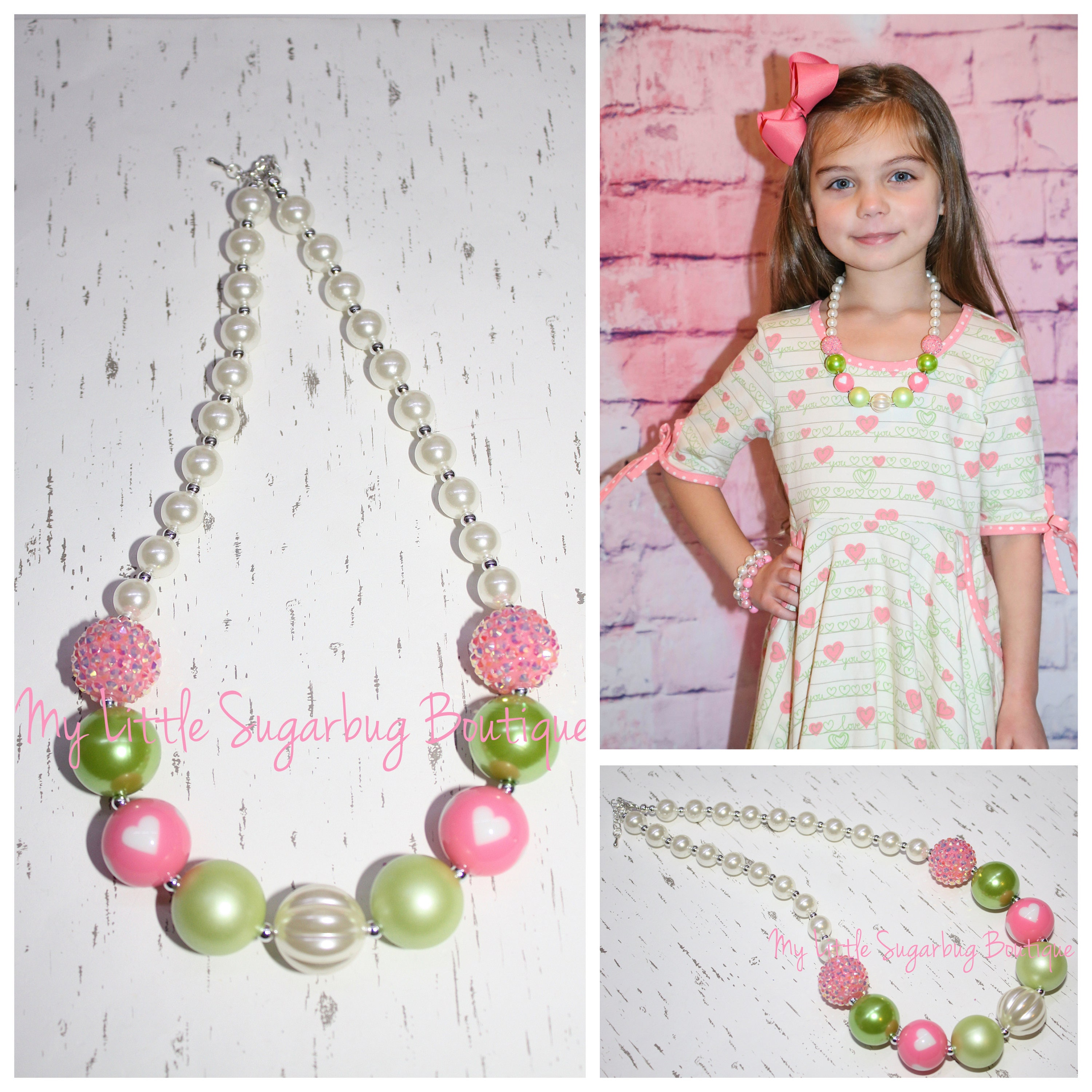 Roses Are Red Chunky Necklace-Valentines Necklace-Red and Pink Necklace-M2M Eleanor Rose-Bubblegum Necklace-Baby-Toddler-Girls-Women